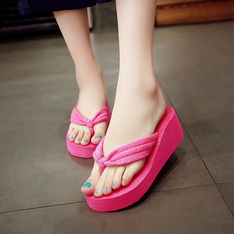 Candy Color Cushioned Women Wedge Flip Flop Slippers -9220