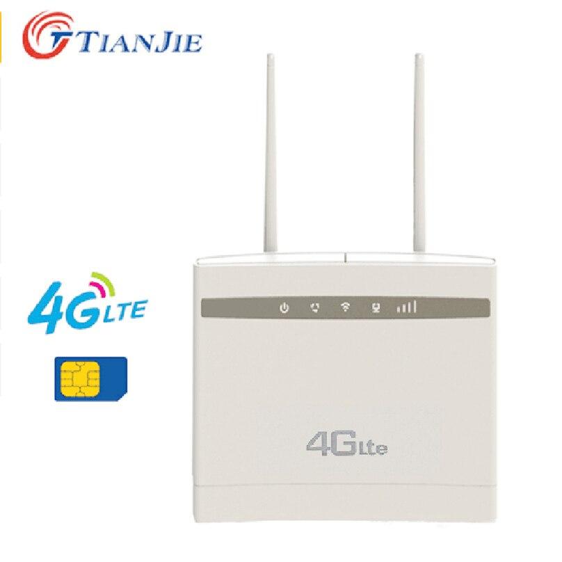 Tianjie 300mbps Wiress 4G LTE CPE déverrouiller WIFI routeur prise en charge du Modem connecter des antennes externes avec emplacement pour carte sim et port LAN