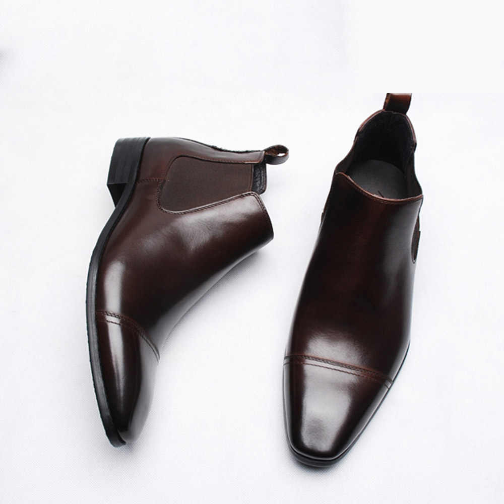 ec295bcfb7f Sipriks Mens Chelsea Boots Imported Italian Leather Square Toe Slip On  Dress Boots Cap Toe Boots Dark Brown European 44 Autumn