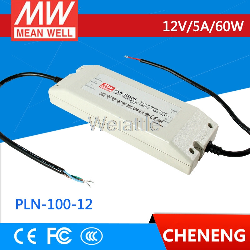 [Cheneng] MEAN WELL original PLN-100-12 12V 5A meanwell PLN-100 12V 60W Single Output Switching Power Supply [cheneng]mean well original pln 100 27 27v 3 55a meanwell pln 100 27v 95 85w single output switching power supply