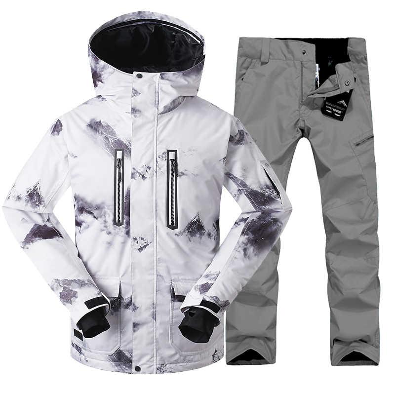 2018 Gsou снег Для мужчин лыжный костюм супер теплая куртка штаны уличная  спортивная одежда Лыжный Спорт 32b9a9cf4b8