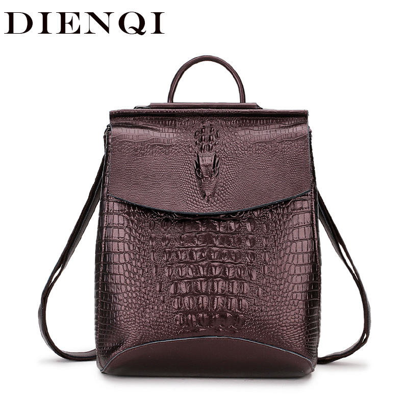 DIENQI Crocodile Genuine Cow Leather Backpack Fashion University School Bags for teenage girls Woman Back Pack sac a dos femme цена