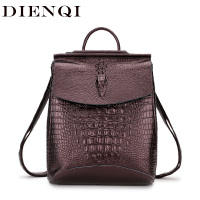 DIENQI Crocodile Genuine Cow Leather Backpack Fashion University School Bags for teenage girls Woman Back Pack sac a dos femme