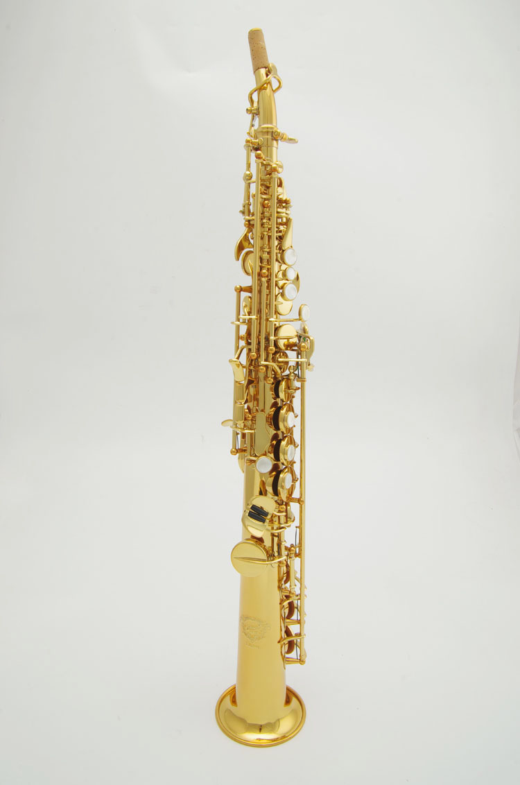 Cadeson S108GL Professional Woodwind Saxophone New B Flat Soprano Sax With Straight Curved Mouthpiece Gold Plated Saxofone
