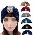 New noble Rhinestone jewelry brooch pleated velvet turban headwrap ruffle velour head cover Hijab cap