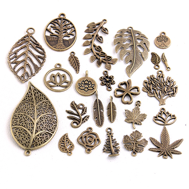 20pcs Vintage Metal Mix Size Style Leaf Flower Charms Plant Pendant for Jewelry Making Diy Handmade Jewelry in Charms from Jewelry Accessories
