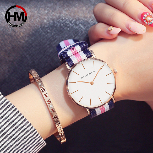 037ca88becec HM Japan Quartz Movement Fashion Girl Student Casual Young Ladies Watches  Nylon Strap Wristwatches Brand Waterproof For Women