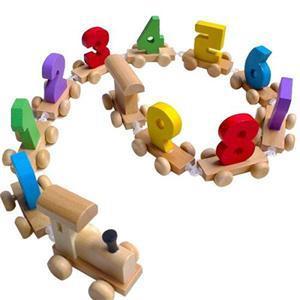 2017 Wooden Train Figures Digital Number Railway Kids Wood Mini Toy Educational Wholesale