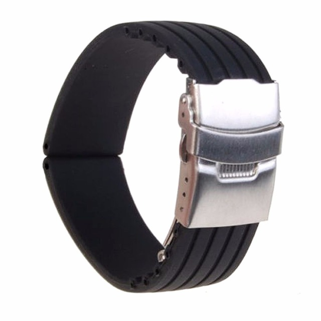 18mm/ 20mm/22mm/24mm reloj hombre Silicone Rubber Watch Strap Deployment Buckle