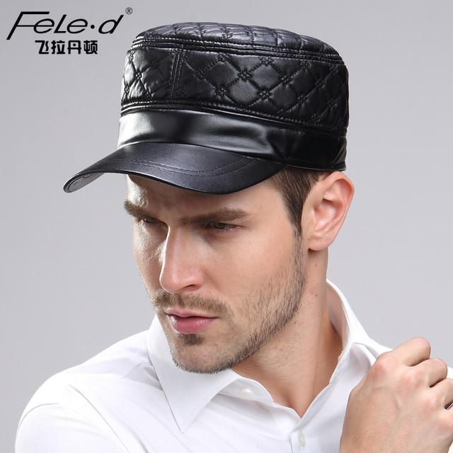 2016 Men's Genuine Leather Hat Adjult Adjustable Baseball Cap Winter Cowhide Windproof Hats For Woman/Man B-3733