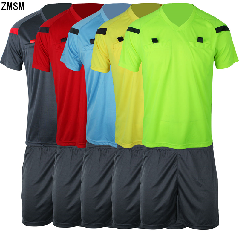 ZMSM Soccer Referee Jerseys Kit Professional Competition Referee Clothing V-neck Football Judge Uniforms Short Sportswear C108 maicca quality soccer corner flag football referee flags wholesale 4pcs pack
