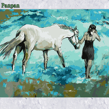 Modern Abstract hand painted Canvas Painting DIY Digital Oil Painting By Numbers Girl and Horse Unique Birthday Christmas Gift