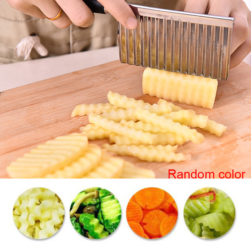 Potato French Fry Cutter Stainless Steel Serrated Slicing Banana Fruits Wave Chopper Kitchen Tool TB Sale