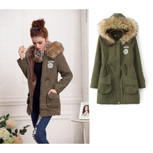 Echoine 2017 Winter Women Coat Thick Warm Cotton Zipper Botton With Hat Outwear Solid Color Casual Coats