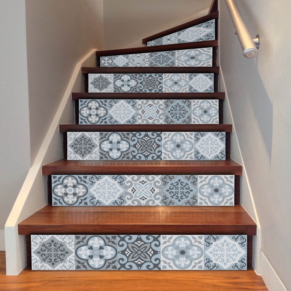 Stairs: 3d Mediterrean Ceramic Pattern Tile Wall Stairs Stickers