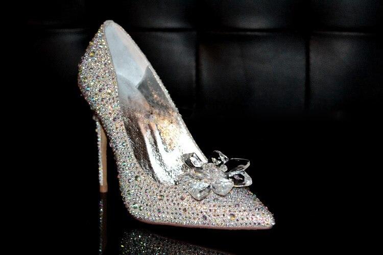 Chaussures cristal chaussures de mariage femme argent stiletto pointus talons hauts strass chaussures de mariée sexy strass chaussures de demoiselle d'honneur