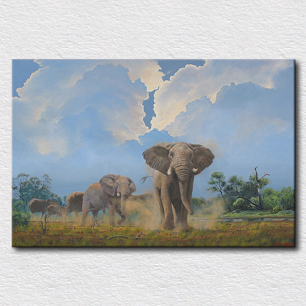 Art picture Home decor canvas animal oil painting Handmade animal art elephants family painting