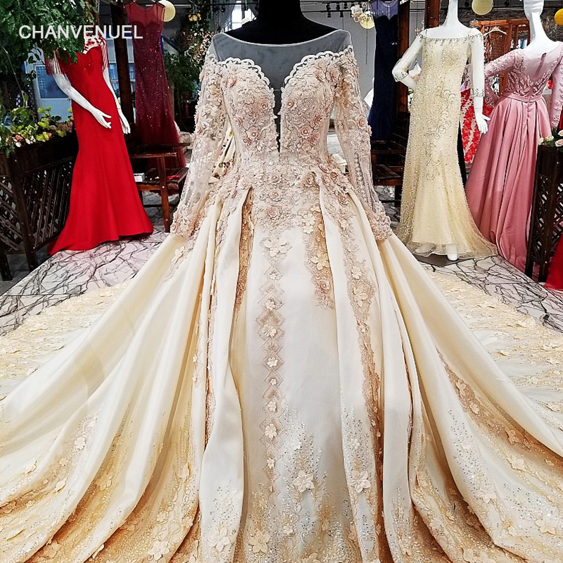 LS25468 royal golden lace   evening     dress   with 3d flowers and beads long sleeves lace up back champagne formal   evening     dress   2018
