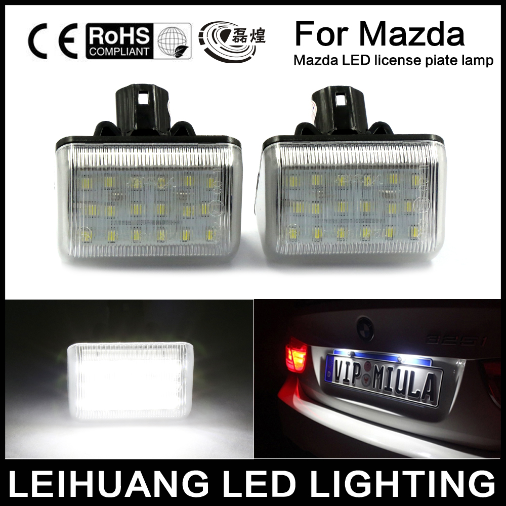 2Pcs Car LED License Plate Light 12V White SMD3528 LED Number Plate Lamp Bulb Kit For Mazda 6 03- CX-5 13- CX-7 07- Accessories new arrival 2pcs 18 smd 3528 led license plate light lamp bulb white for bmw e46 2 door 1998 2003 12 30v free shipping