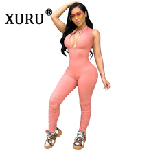XURU autumn and winter new womens slim bodysuit fashion casual solid color sleeveless tight long jumpsuit yellow pink