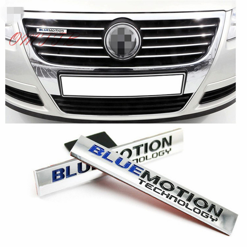1 PC 3D Chrome Bluemotion Technology Car Stickers for Volkswagen vw Scirocco Touareg Tiguan Golf Jetta Emblem Badge Car styling flyj 3d rabbit badge gti letters chrome metal emblem refitting car styling trunk sticker decoration for vw jetta cc sagitar