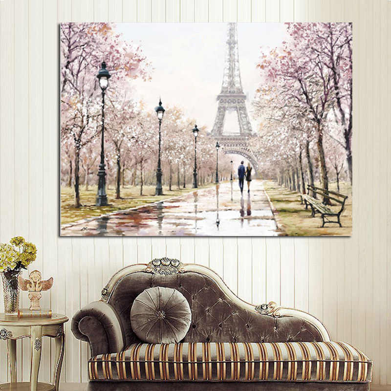 Romantic City Couple Paris Eiffel Tower Landscape Abstract Oil Painting on Canvas Poster Print Wall Picture for Living Room