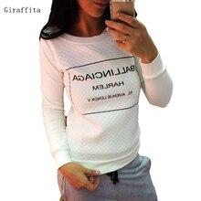 Spring Autumn Long Sleeve Casual Sweatshirts Women Letter Print Hoodies Moleton Feminine S-xl White Black Fashion Women Hoody