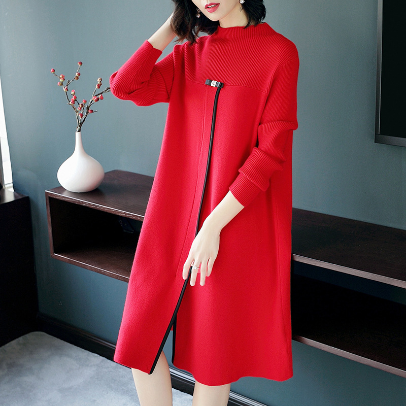 Women Knitted Dress 2017 Autumn Winter New Fashion Brief Patchwork O-Neck Long Sleeve Loose Wool Sweater Dresses Midi