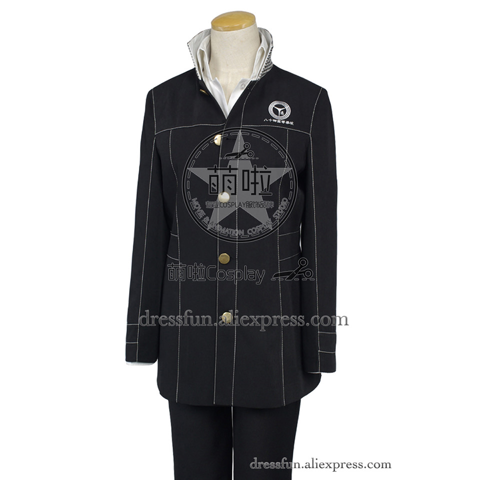 Shin Megami Tensei: Persona 4 P4 Cosplay Costume Black Suit Uniform Outfits Coat Shirt Fashion Party Fast Shipping Halloween