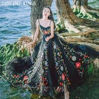 Summer Women Beach Long Maxi Dress Backless Sexy Strap Flower Embroidered Mesh Dress Hippie Boho Dress Vestidos