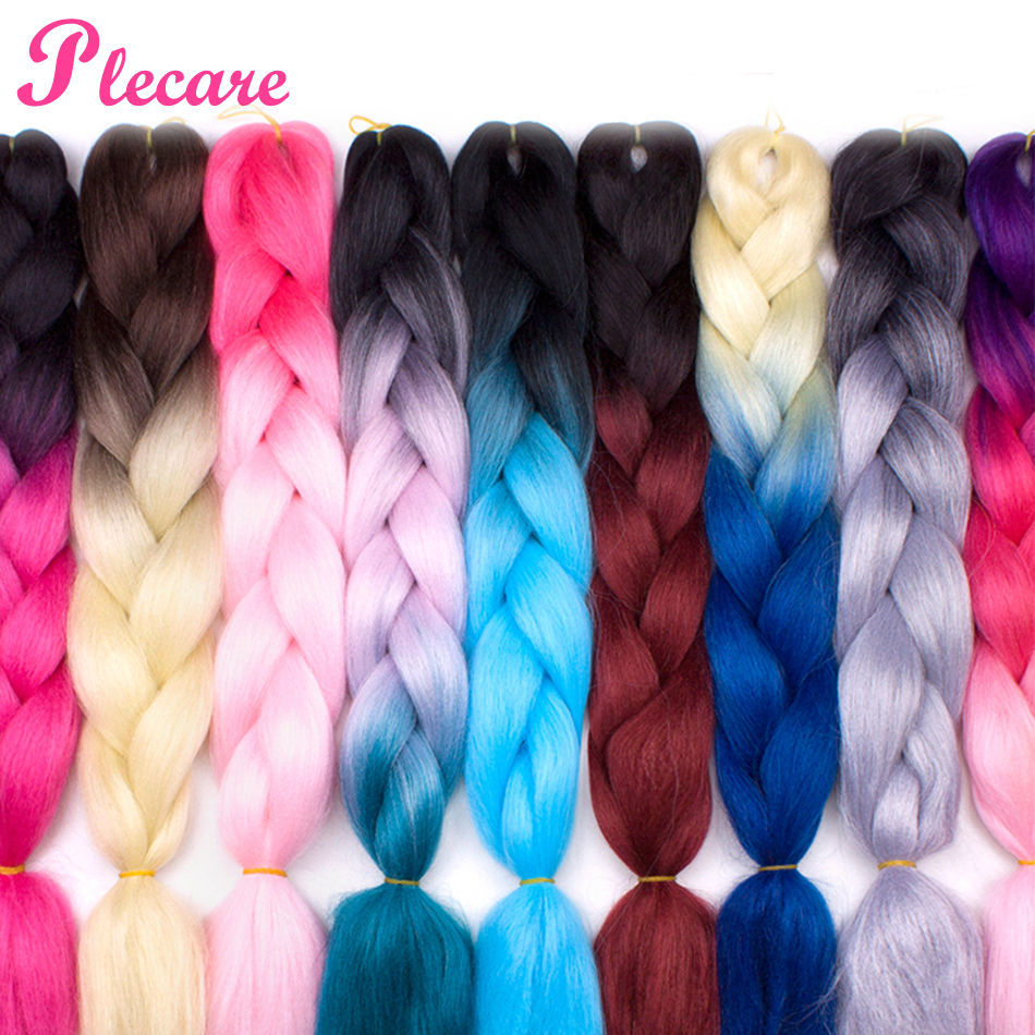 Plecare 24inch Synthetic Jumbo Braids Hair 100g/Pack Hair Blonde Crochet Pruiken Braiding Hair Extensions Crochet Hair(China)