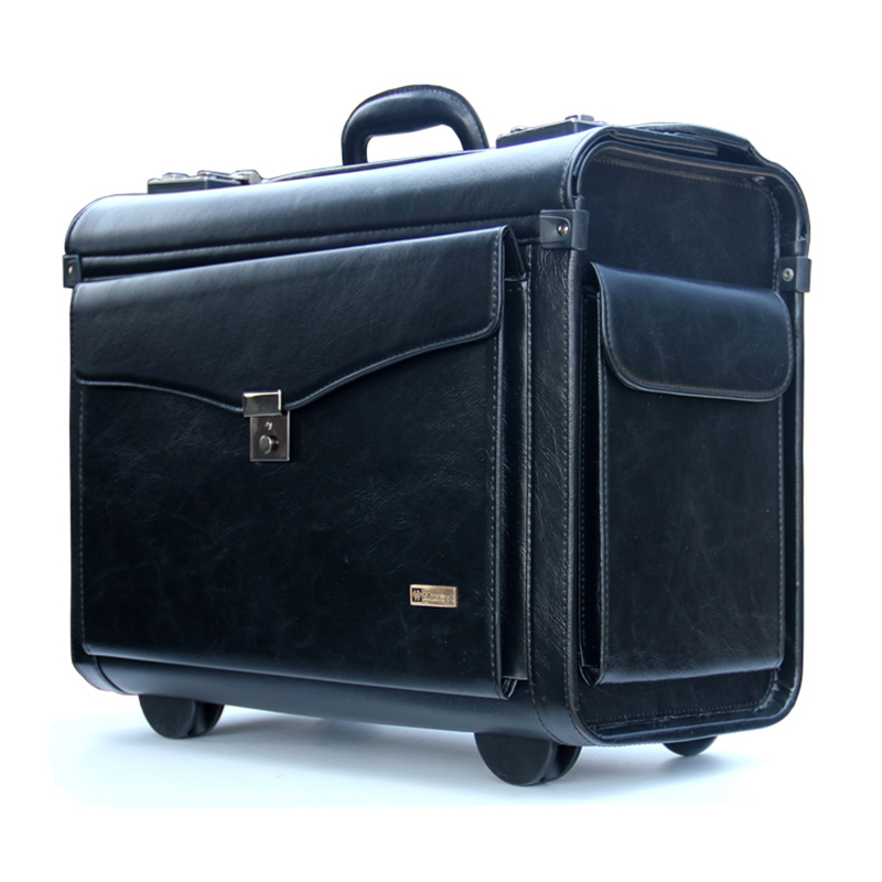 BeaSumore Men Retro Rolling Luggage Caster 16 inch Cabin Travel Bag PU Leather Wheel Suitcases Business