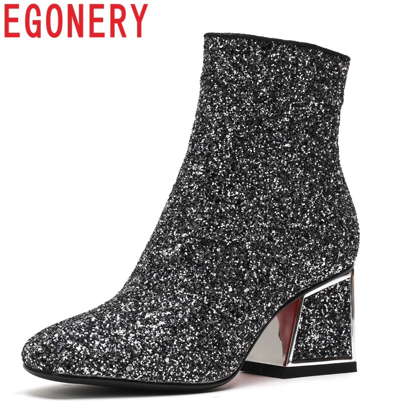 EGONERY shoes women 2018 new fashion sexy sequined cloth square toe zipper high square heel black and golden winter ankle boots цены