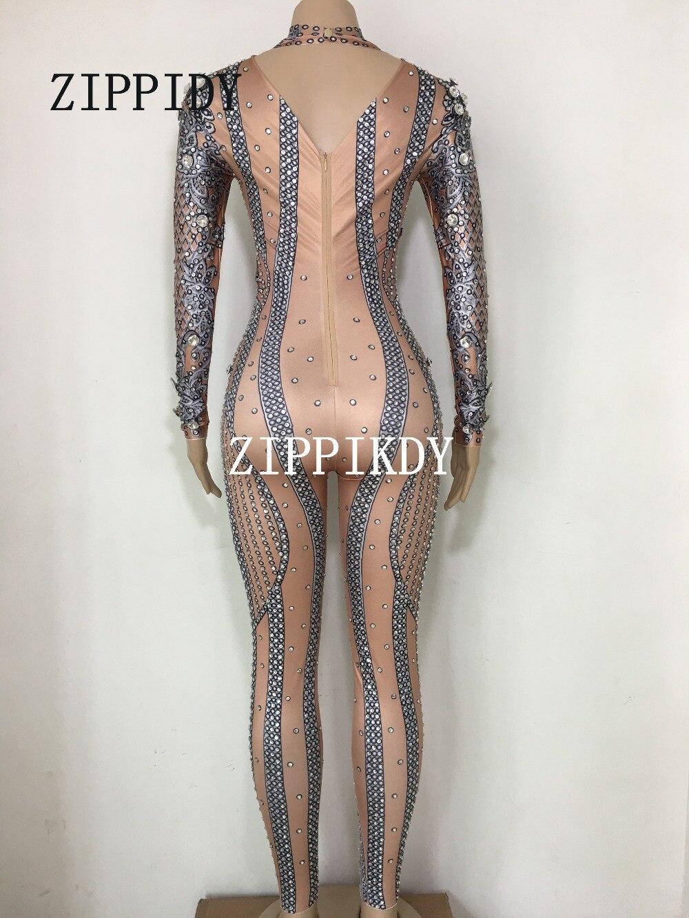 Femmes Scintillant Luxueux Célébrer Parti Mode Pic Salopette Vêtements Body Costume Color Danse De Strass Performance Argent wT4qa5X
