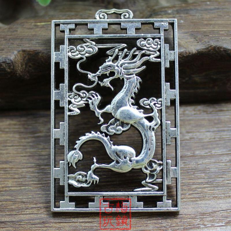 Exquisite Chinês Clássico Coleção Tibetano Placa de Prata Rodada Pingente de Dragão