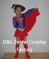 Free Shipping DHL Real 2013 Wholesale Superhero Supergirl Child Costume Kids Halloween Costume Child Girl Halloween Costume