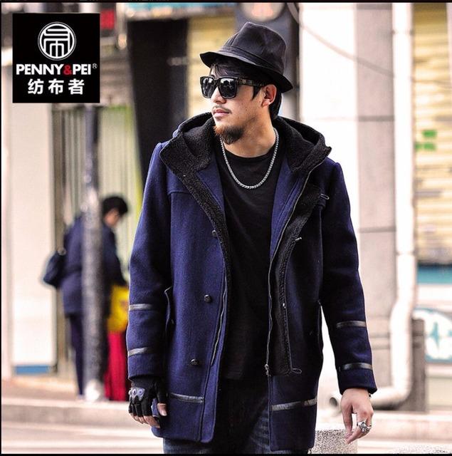 Grasos 2XL-6XL NUEVO Macho prendas de vestir exteriores zanja de medio-largo más tamaño ropa de invierno de los hombres de Empalme de lana marea abrigo casual abrigo