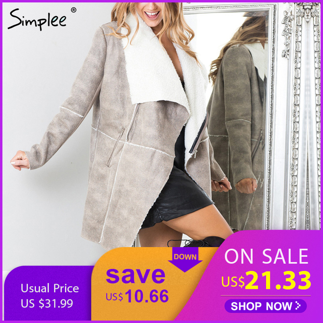 Simplee Autumn Winter Suede Lambswool Coat Women 2017  Elegant Warm Zipper Cashmere Coat Turn Down Collar Wide Waisted Overcoat by Simplee