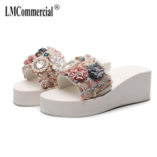 One-word flip-flops summer muffin thick-soled anti-skid tour new beach rising slope slippers luxury shoes women designers