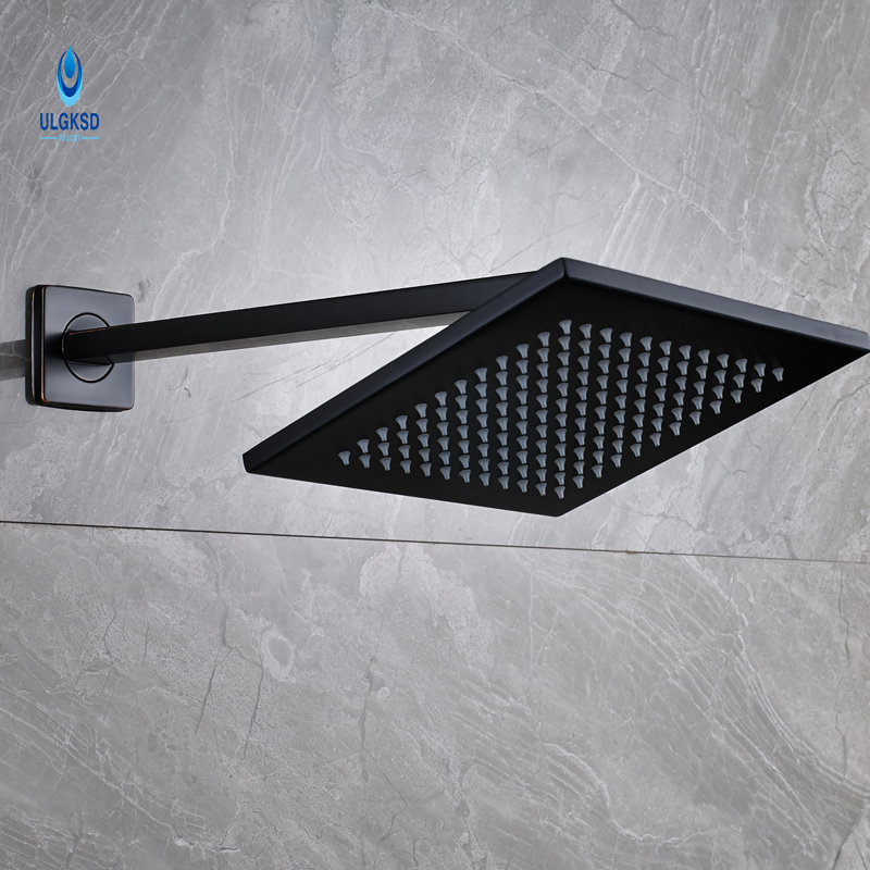 Ulgksd Bathroom Shower Head Oil Rubbed Bronze Square Shaped Wall Mounted Bath Rainfall Shower Head With Shower Arms black oil rubbed bronze bathroom accessory wall mounted toothbrush holder with two ceramic cups wba197