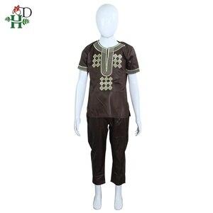 Image 4 - H & D T 셔츠 남성용 2 개 세트 Kids Boys 아프리카 대시키 히피 옷 아버지 아들 Bazin Riche 자수 탑 바지 정장 가운