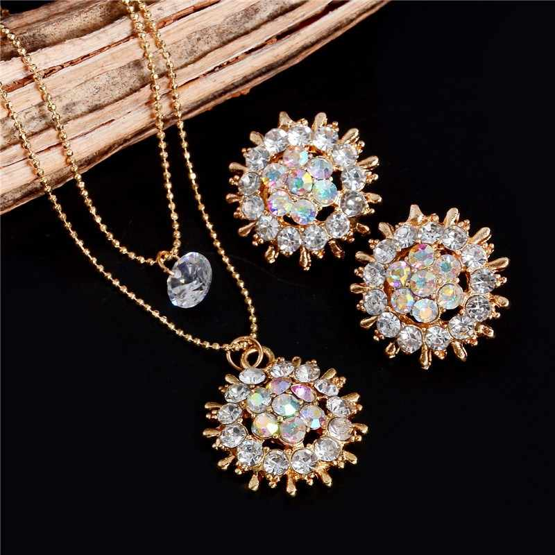 ZOSHI Fashion Crystal Jewelry Sets Women Round Flower Multilayer Gold Chain Necklace Stud Earrings Ladies Wedding Jewelry Set