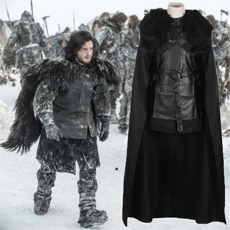 Jon Snow Cosplay Costume Black Faux Leather Top Pant Cloak Glove Foot Straps Set Man PU Top Belt Cotton Shorts Set Halloween Cos