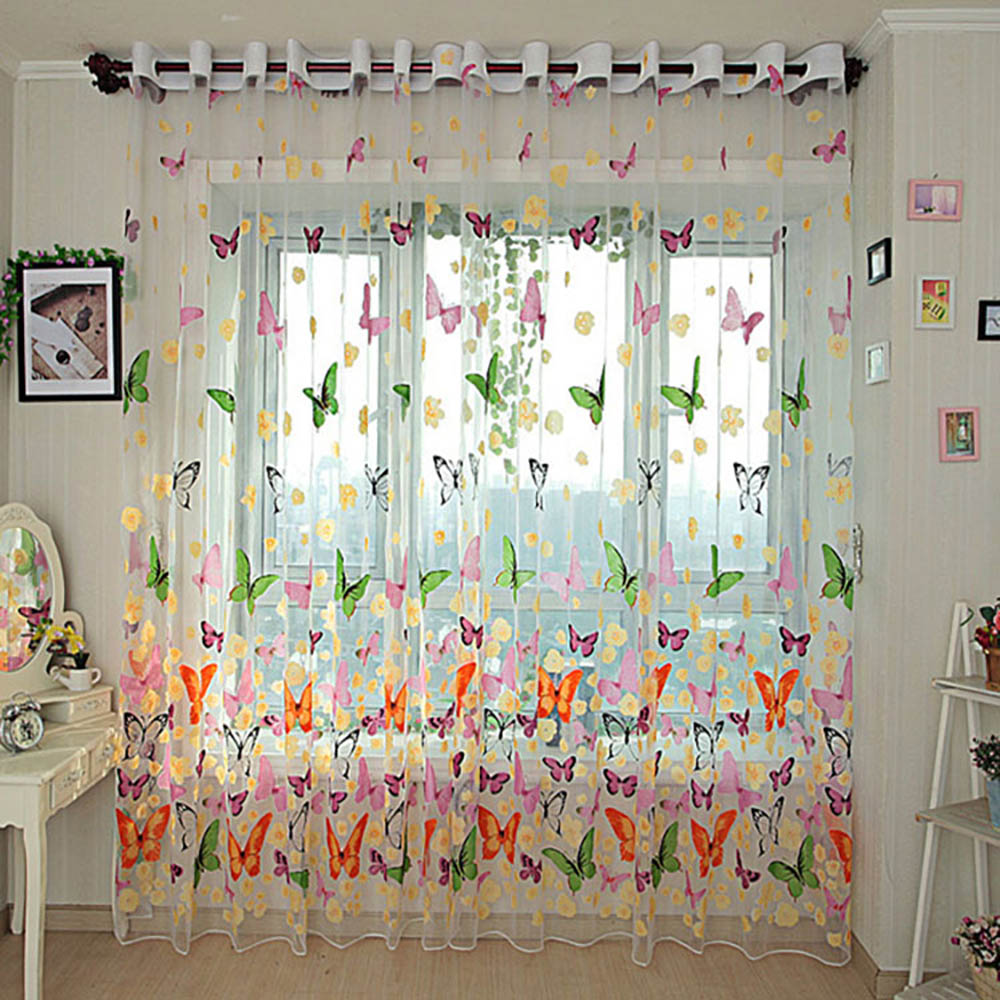 270x100cm Floral Butterfly Woven Printed Tull Voile Door Window