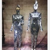 Fashion Ballroom Dance Silver Costumes Mirror Ball Dress Disco Catwalk Bar Performance Wears Models Party DS Jazz Dancer Outfit