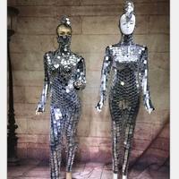 cd95dafc8402d ... 70 s Disco Parti Kostüm. Teklifi Göster. Fashion Ballroom Dance Silver  Costumes Mirror Ball Dress Disco Catwalk Bar Performance Wears Models Party  DS
