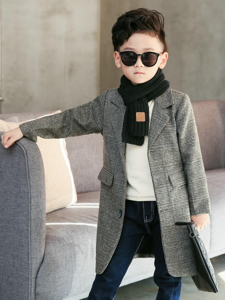 Image 3 - Plus Size Childrens Long Suit Plaid Coat 2020 Spring Fall Boys British Lattice Overcoat Teenage Kids Handsome Windbreaker X315Trench   -