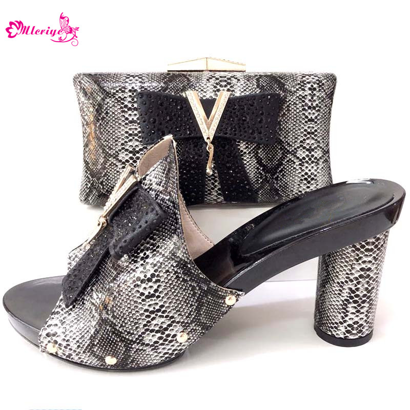 Latest black Italian Shoes with Matching Bags for Wedding Italy African Women Italian Shoes and Bag Decorated with Rhinestones doershow latest pattern african shoes and matching bags with rhinestones good quality italian shoes and bags for party hzl1 15