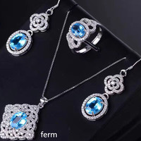 KJJEAXCMY exquisite jewelry 925 sterling silver inlaid natural Topaz Ring Pendant Earrings 3 sets
