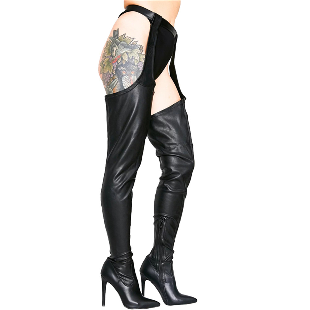 SARAIRIS New Plus Size 48 Thin High Heels Belt Buckle Boots Strap Women Shoes Woman Party Sexy Thigh High Over The Knee Boots in Over the Knee Boots from Shoes
